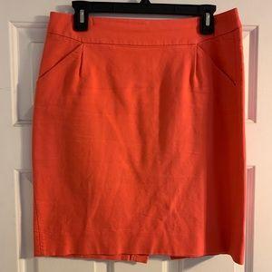 J. Crew coral cotton pencil skirt pockets 8